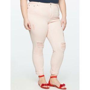 Eloquii Jeans Pink Destructed Slim Ankle Pants